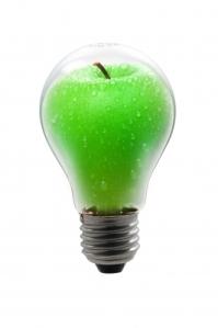 Äppelformad glödlampa