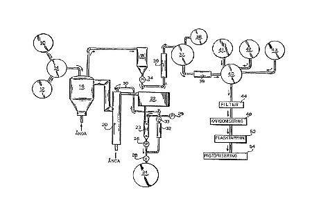 Illustration tillhörande patent SE 8404098-9: Alkoholfritt vin samt sätt och apparat för framställning av det.